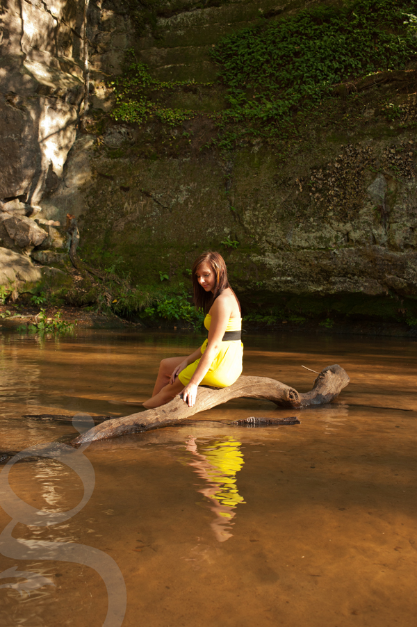 Girl in yellow dress seated on fallen tree in the middle of a creek reflected in the water.