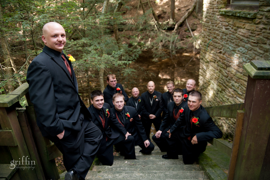 The groomsmen on the steps of the Coldwater Canyon stand.