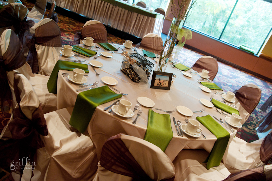 Chula Vista resort Grand Ballroom table setting in green, white and brown for the wedding reception.