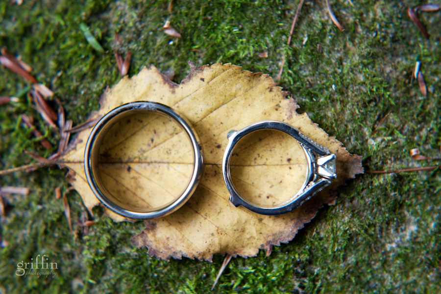 Wedding rings on a yellow leaf and green lichen in macro.