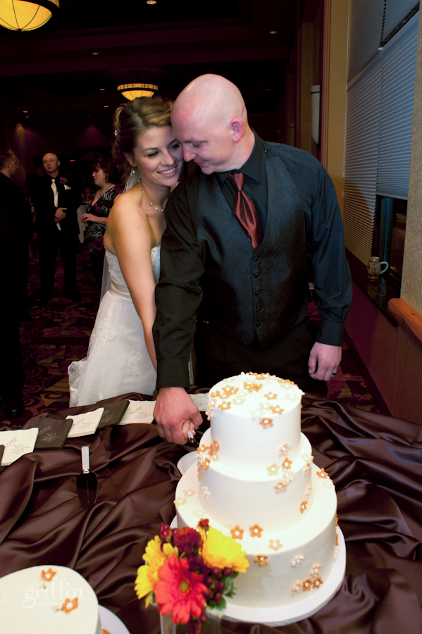 Jenelle and Casey cutting their wedding cake.