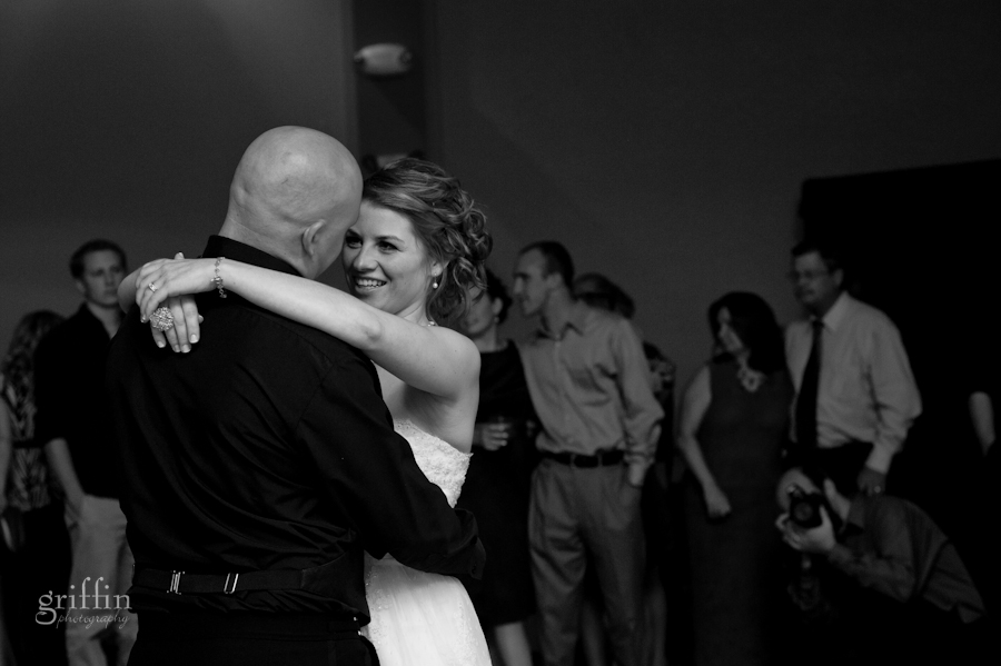 black and white of the first dance as bride and groom.