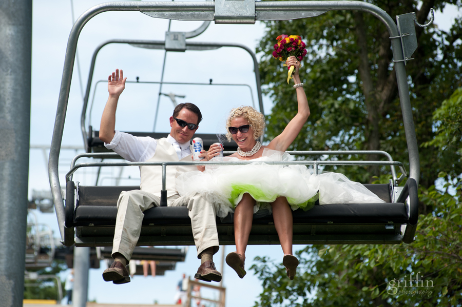 Bride and groom on the chair lift at Devil's head resort in Baraboo.