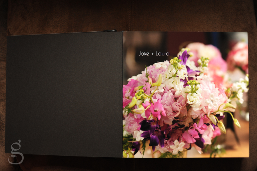 first page of the wedding album featuring the bouquet from Wild Apples in Baraboo.