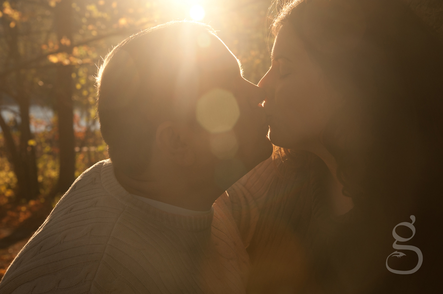 Engaged couple kisses as the sun flares around them.