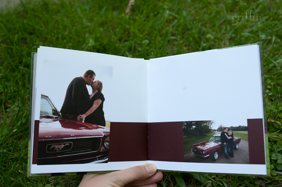 Mustang engagement album spread.