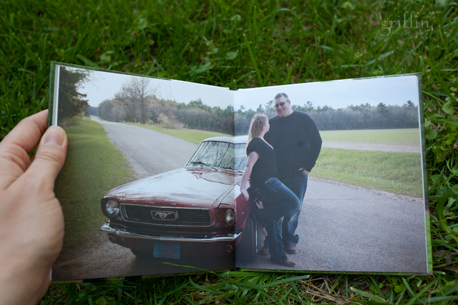 full page full bleed mustang engagement album spread.