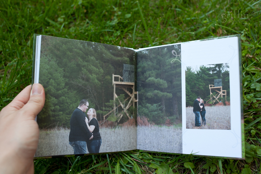 the deer stand engagement album spread.