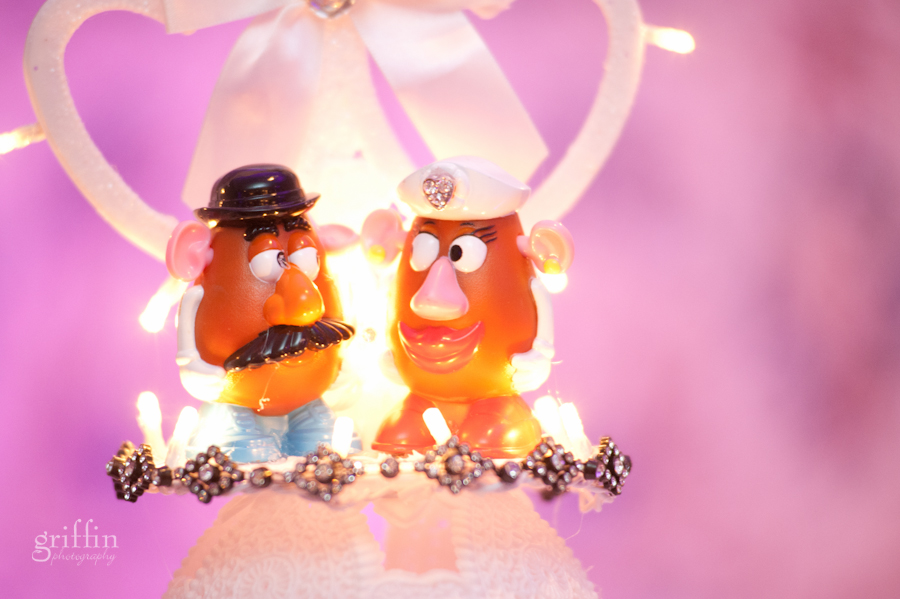 Mr. and Mrs. Potatoe Head wedding cake topper.