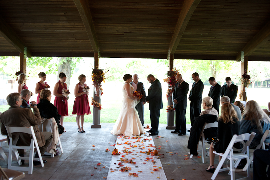 wide angle of the wedding ceremony in the pavilion at Devil's Lake state park, Baraboo Wisconsin.