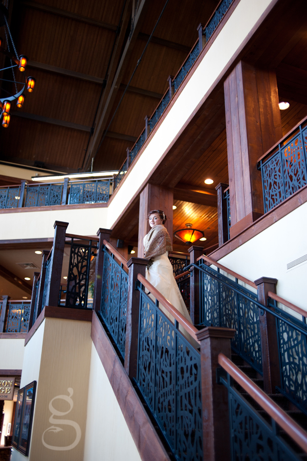 Harmony on the stairs at the Wyndham resort in Wisconsin Dells.