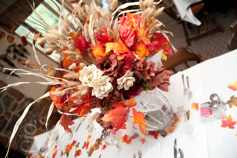 Autumn centerpieces on the tables at the reception.