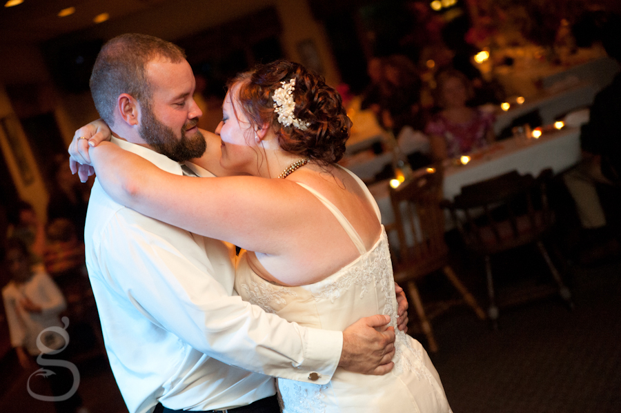 bride and groom dancing at the reception.
