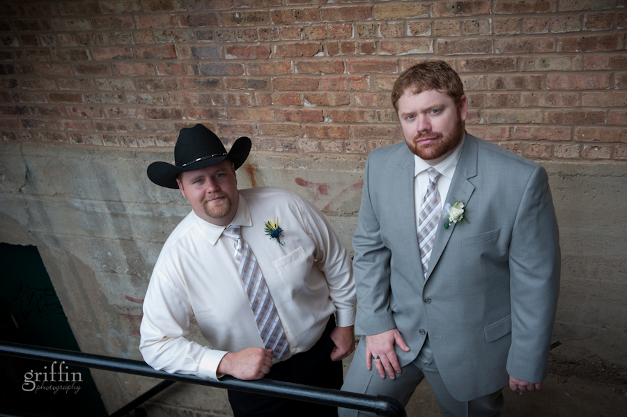 The groom and his best man, complete with cowboy hat.