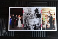 Album spread of the ceremony with hot pink detailing.