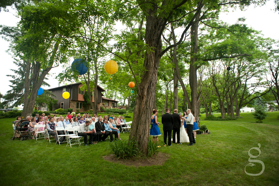 beautiful backyard wedding ceremony in Baraboo Wisconsin.