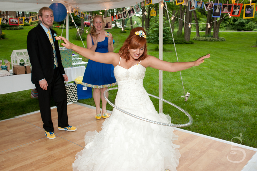 the bride showing off her hula hooping skills.