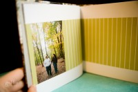 lots of empty space on the pages for guests to sign as an engagement guest book.