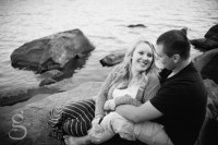Tumbled rocks trail at Devil's lake with Mandy and Strash for the engagement session.