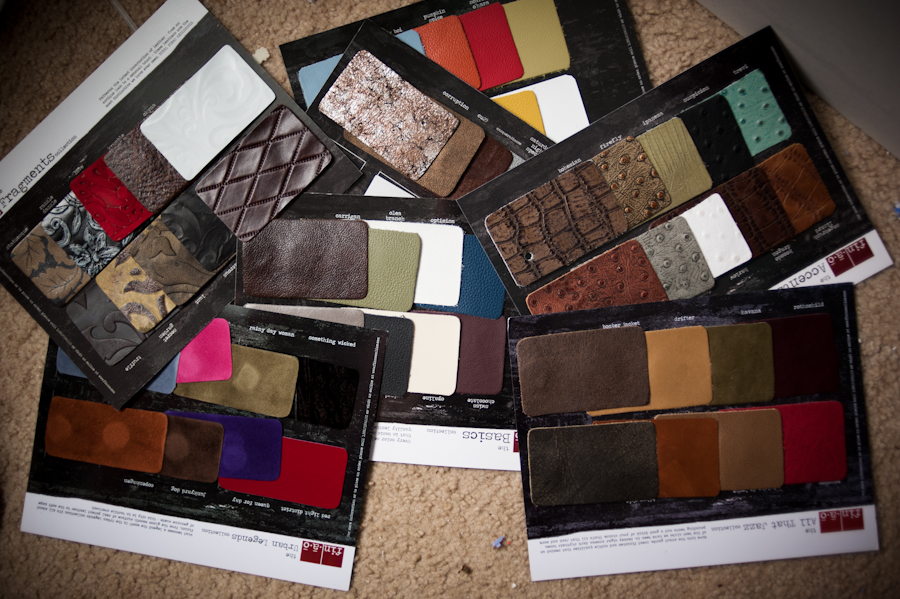 Finao's gorgeous leather swatches laid out together.