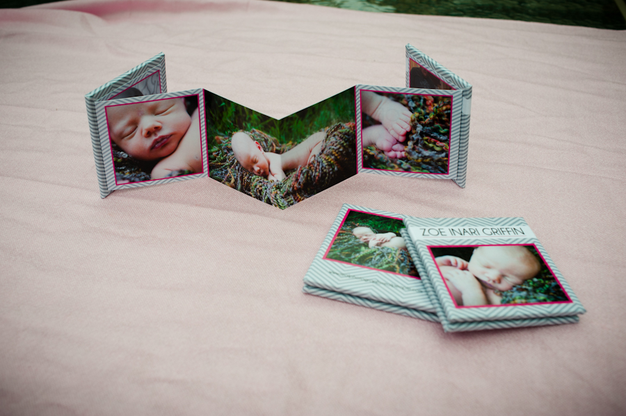 Back side of the accordion album featuring double spread of baby.