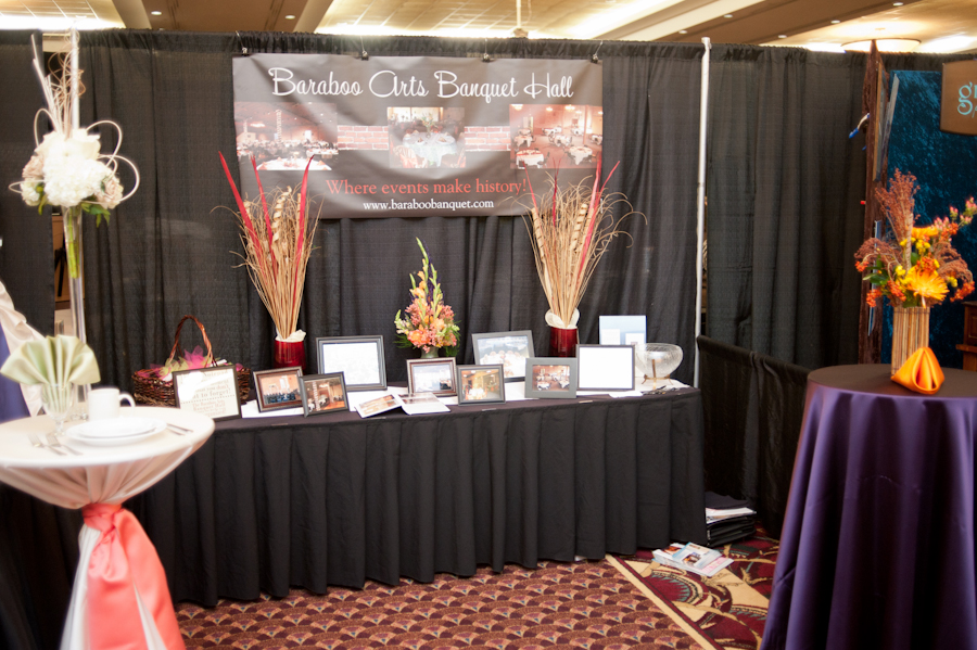 Baraboo Arts Banquet hall bridal fair booth at Ho Chunk.