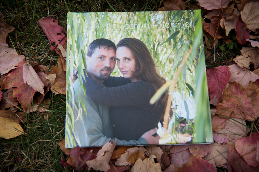 Cover of Josh and Jen's engagement album guestbook.
