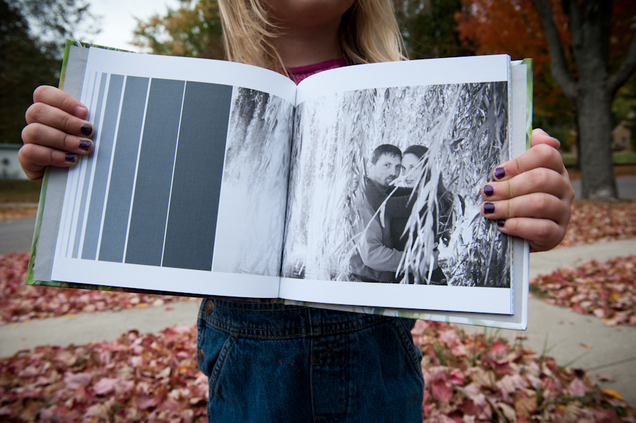 black and white image on the inner pages of the engagement guest book.