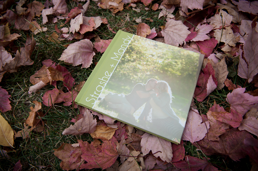Engagement album cover with names and vertical image.