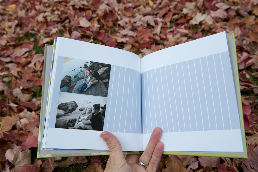 guest book for the wedding with engagement pictures.