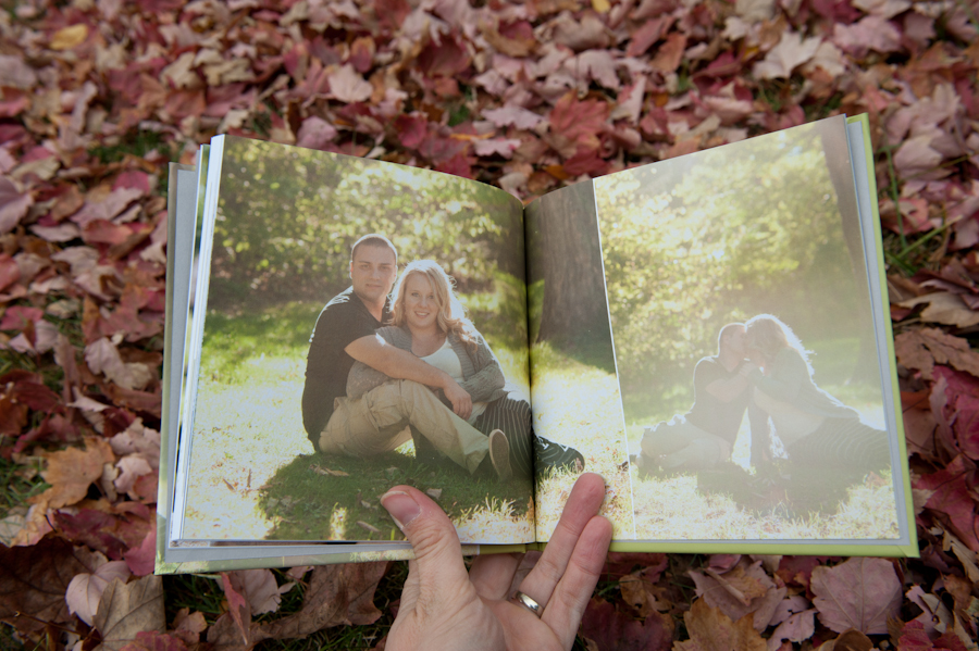 images spreading across the pages of the engagement album.