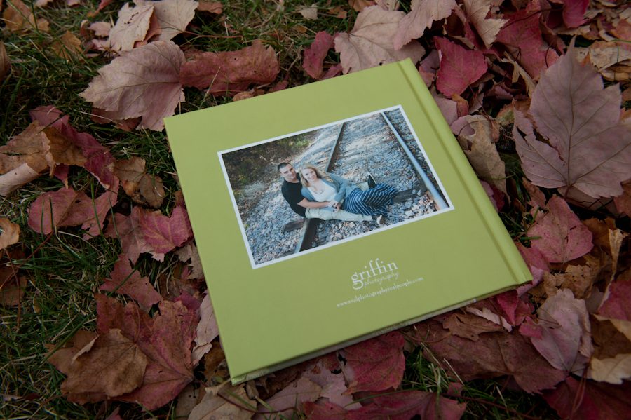 back cover of the engagement album with Griffin photography logo.