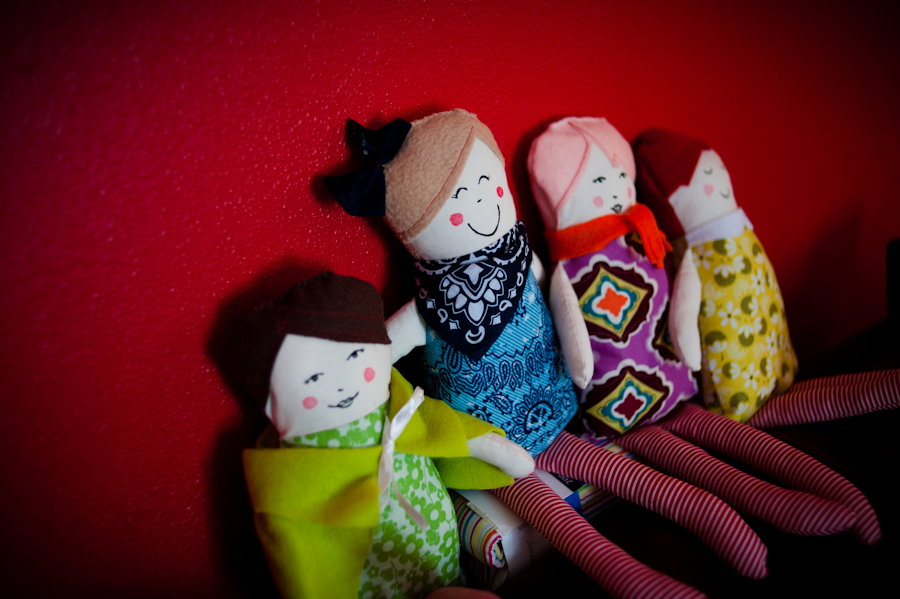 Four cute little ragdolls sewn with love for Christmas presents.