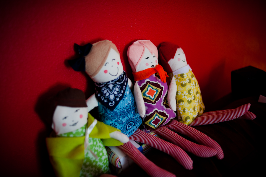 Hand painted faces on my little ragdolls thanks to Emily Martin for her pattern.