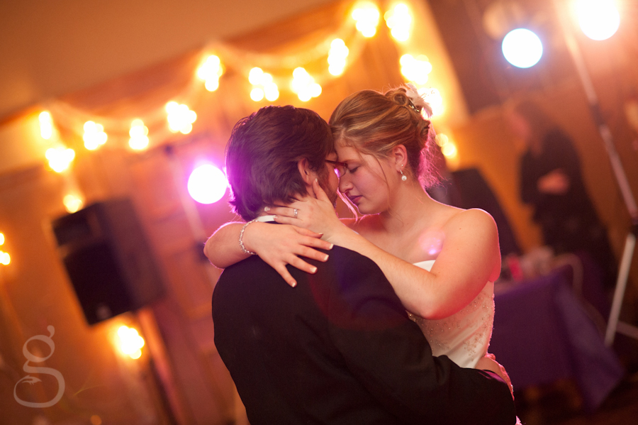 the bride and groom's first dance at the Elk's Club in Baraboo WI.