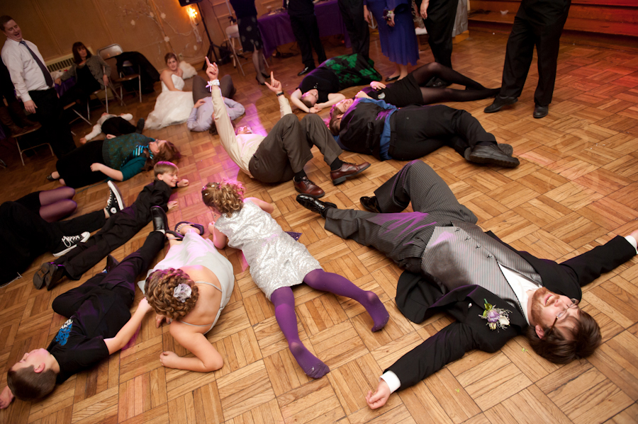 bridal party fallen on the floor.