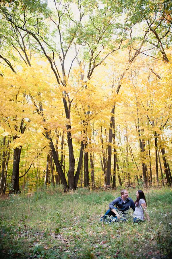 relaxing in a field under the gorgeous yellow leaves