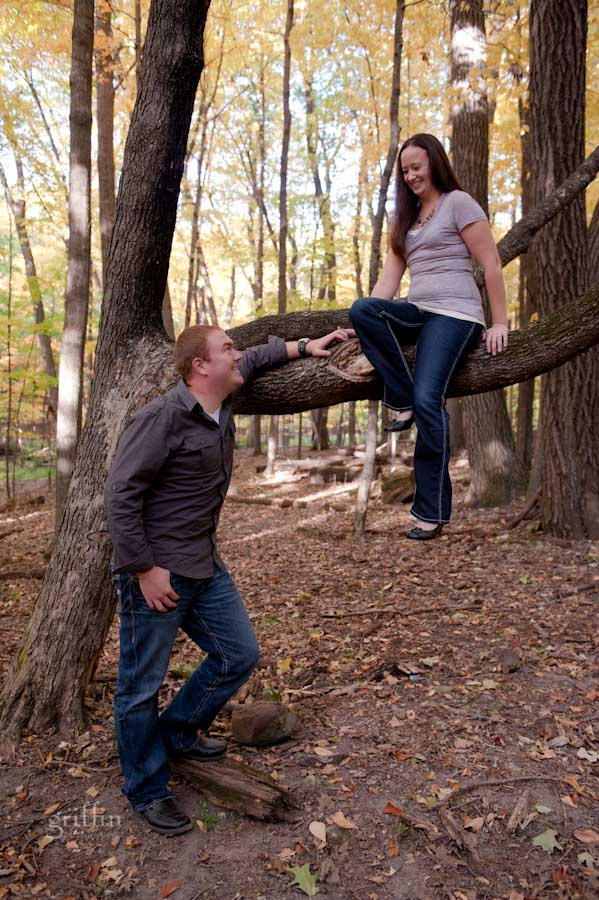 nickie showing nick how climbing a tree is done