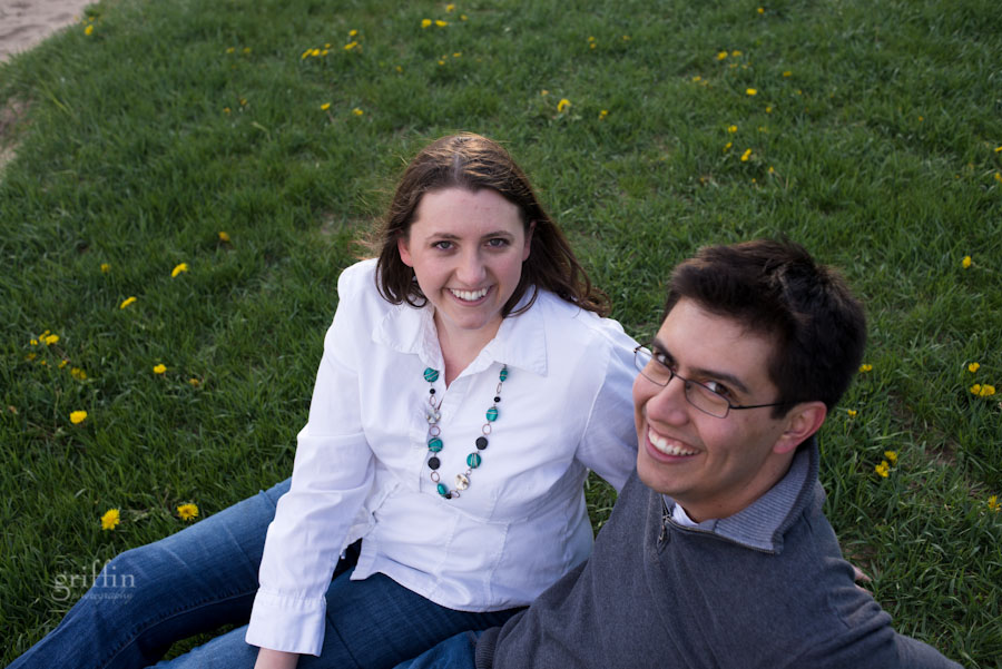 engagement session on the grass at devil'ls lake