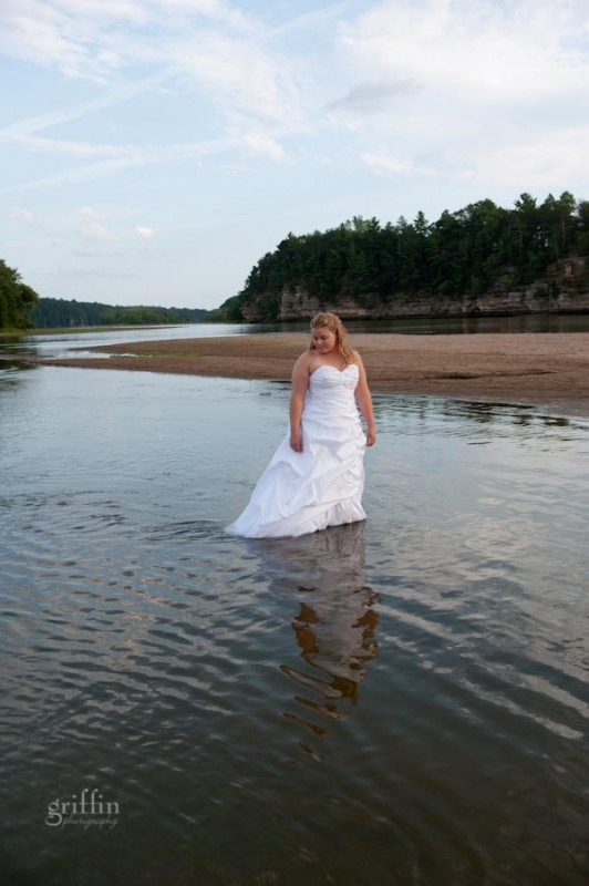 trash the dress session on the river in Wisconsin Dells.