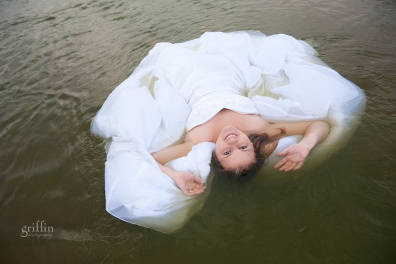 bride in the water of the river