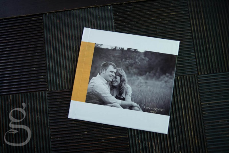 Engagement guestbook with Fuji pearl cover.