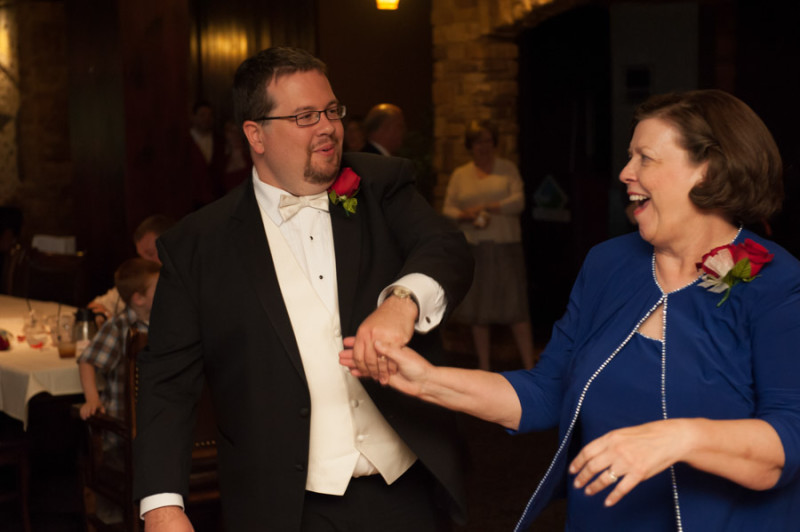 Mike and his mom dancing their first dance.