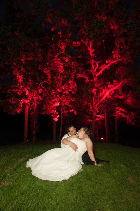 bride and groom sitting on the grass with the red trees behind them