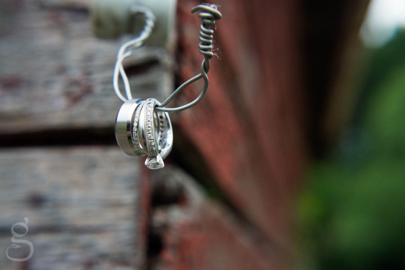 creative wedding ring shot, rings hung on old wire