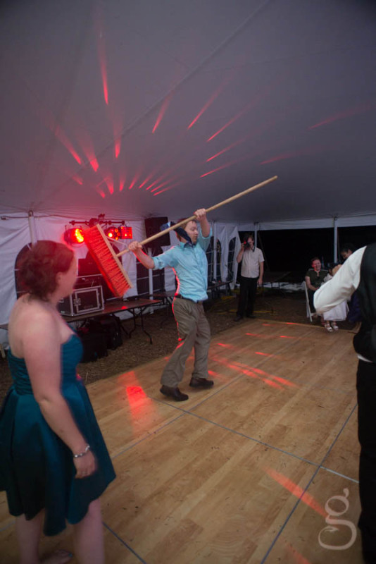 broom dancing at the reception