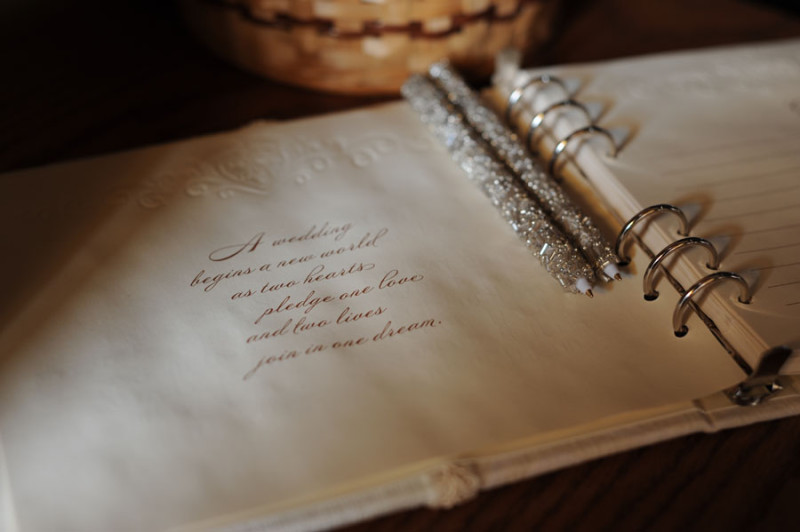 quote inside the first page of the wedding sign in book.