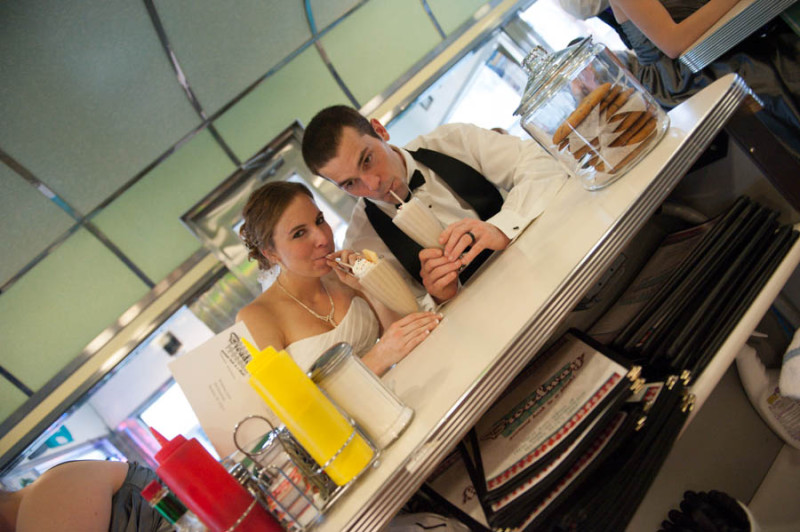 newly married and sipping milkshakes at Broadway Diner in downtown Baraboo.