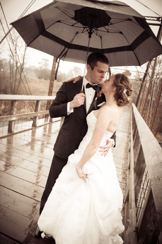 Lower Ochsner's bridge in the rain with the bride and groom.