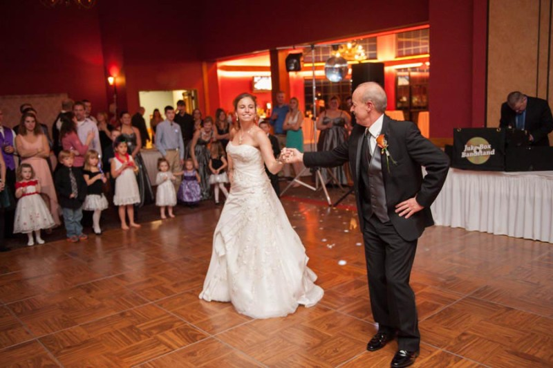 Megan and her dad cutting it up on the dance floor.